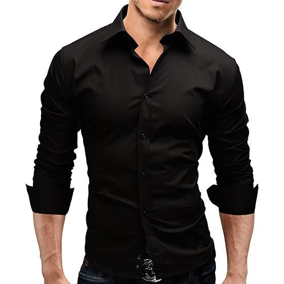 chemise slim fit homme noir achat vente chemise. Black Bedroom Furniture Sets. Home Design Ideas