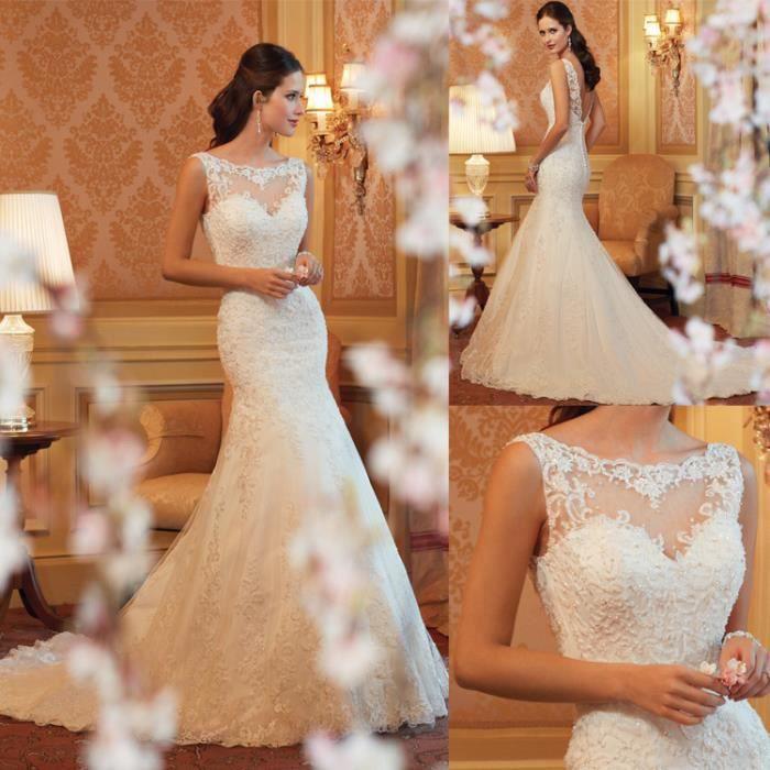 Longue Robe De Soiree Pour Mariage Taille 34 52 Blanc Achat Vente Robe De Mariee Cdiscount