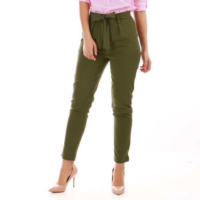 Pantalon chino vert olive avec ceinture-S Vert - Achat / Vente pantalon -  Cdiscount