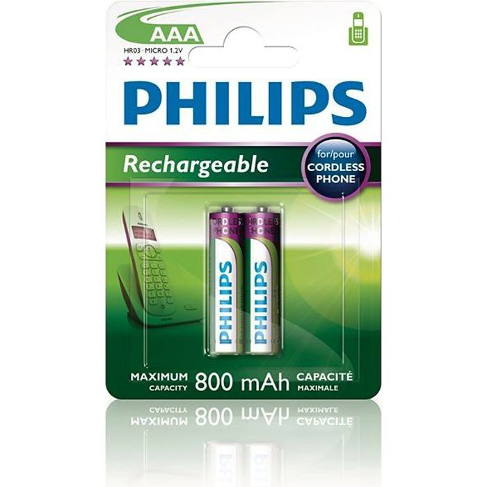 philips 2 piles rechargeable aaa lr03 800 mah achat. Black Bedroom Furniture Sets. Home Design Ideas