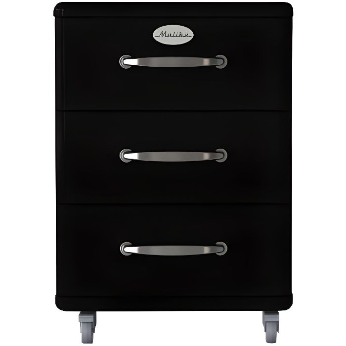 tenzo malibu 5273 033 meuble de rangement sur roulettes en mdf noir laqu 60 x 41 x 46cm. Black Bedroom Furniture Sets. Home Design Ideas