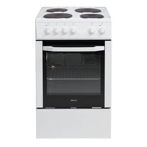 BEKO CSS56000GW-Cuisini?re table électrique-4 zones-1000 / 1500W-Four convection naturelle-Email-60L- A -L50 x H60cm-Blanc