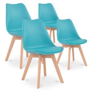 CHAISE Lot de 4 chaises style scandinave Catherina Bleu T