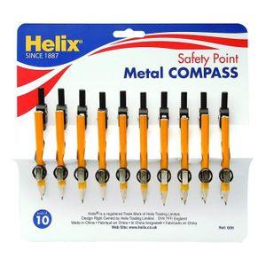 BOUSSOLE - COMPAS Helix G05030 Lot de 10compas métal avec mines