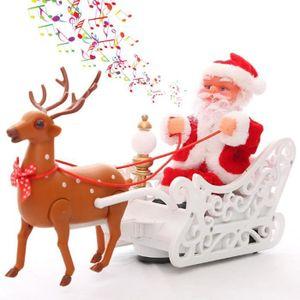 AUTOMATE ET PERSONNAGES Décoration Père Noël cerfs tirés de petits chariot