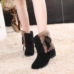BOTTE Bottes d'hiver des femmes bowknot peluche chaussur