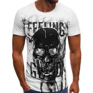 Tshirt Homme Imprimer Manche Courte Dessin De Tete De Mort
