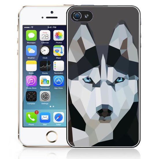 coque iphone 4 4s loup husky origami
