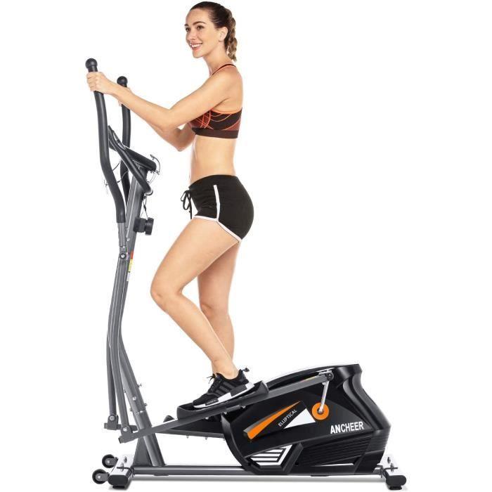 ANCHEER Vélo Elliptique Fitness d'Appartement Cross Trainer avec 10 Niveaux de résistance/APP/PorteTablette/Fréquence Cardiaque Gris
