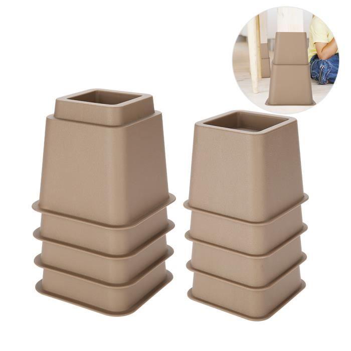 Elevateur Réhausseur DE MEUBLE CHAISE Pied Riser Jambe de meubles de Lit Tableau Bureau Canapé sofa Accessoires de Funiture marron