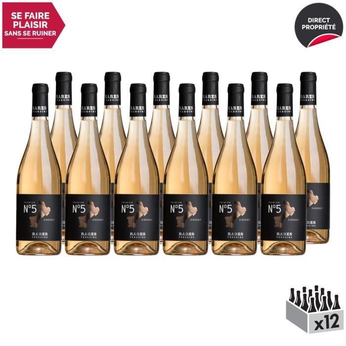 Pays d'Oc N°5 Cinsault Rosé 2019 - Lot de 12x75cl - Rares Terroirs - Vin IGP Rosé du Languedoc - Roussillon - Cépage Cinsault
