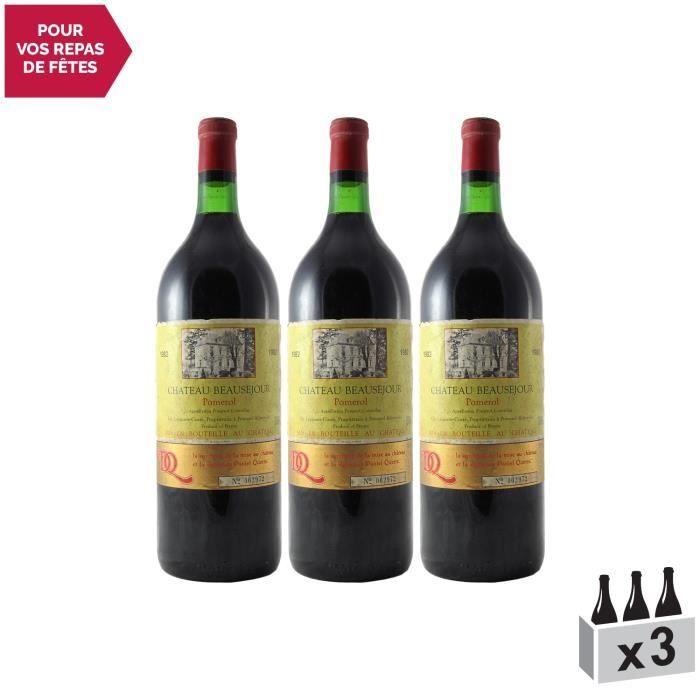Château Beauséjour Saint-Emilion Grand Cru MAGNUM Rouge 1982 - Lot de 3x150cl - Vin AOC Rouge de Bordeaux - Cépages Merlot,