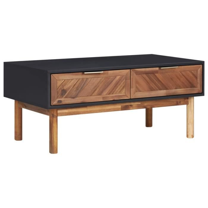 RING Table basse 90x50x40 cm Bois d'acacia massif et MDF