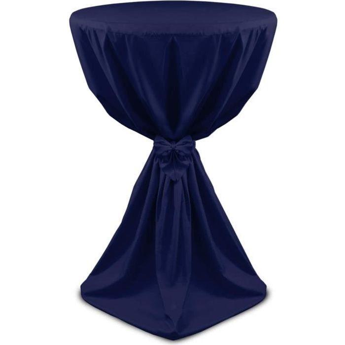 Beautissu Housse de table bistrot 60cm Bleu foncé - Mange debout - Deco Cocktail banquet - Avec noeud - Giulia