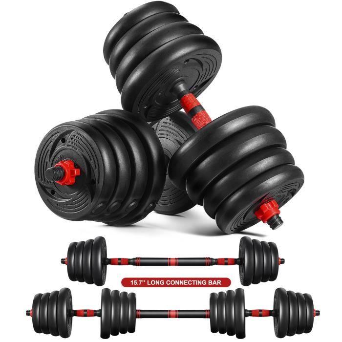 Haltère 30kg Poids Ajustables, Lot de 2 Kit Haltères 30 kg (Noir) LO-RR
