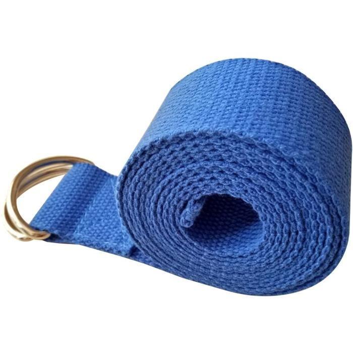 Métal D-Ring Longue Ceinture extensible de yoga Formation de forme physique Sangle Yoga (Bleu)