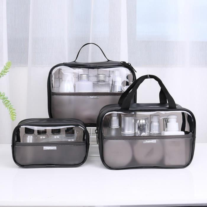 Trousses De Toilette Transparente Unisexe Pochette À Maquillage Transparente Rangement Pour Maquillage Sccessoires De Voyage -3PCS