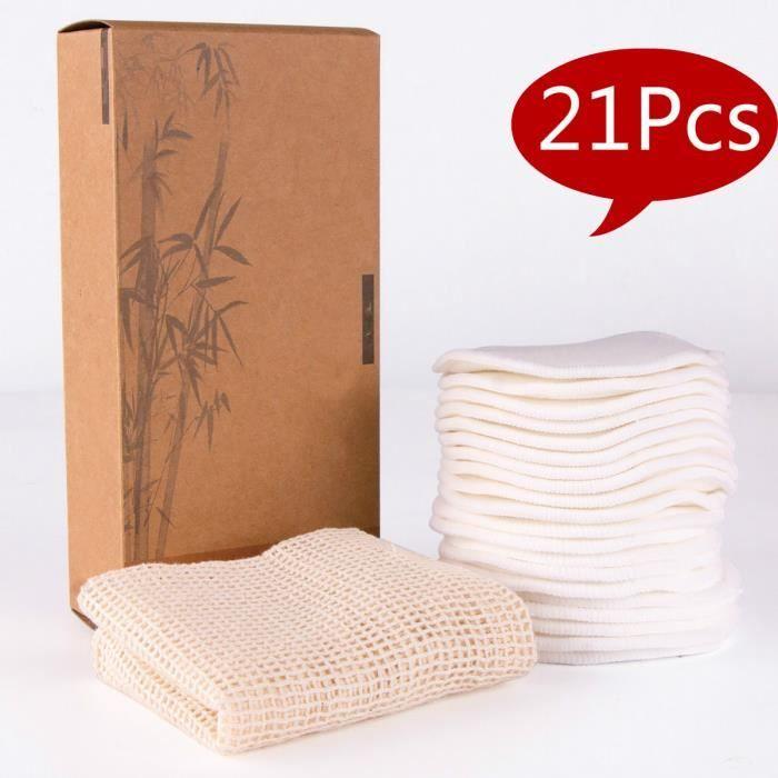 Tampons Démaquillants Fibre De Bambou, Disques Coton Demaquillant Lavable, Lavable Et Réutilisable, Outils De Beauté Blanc