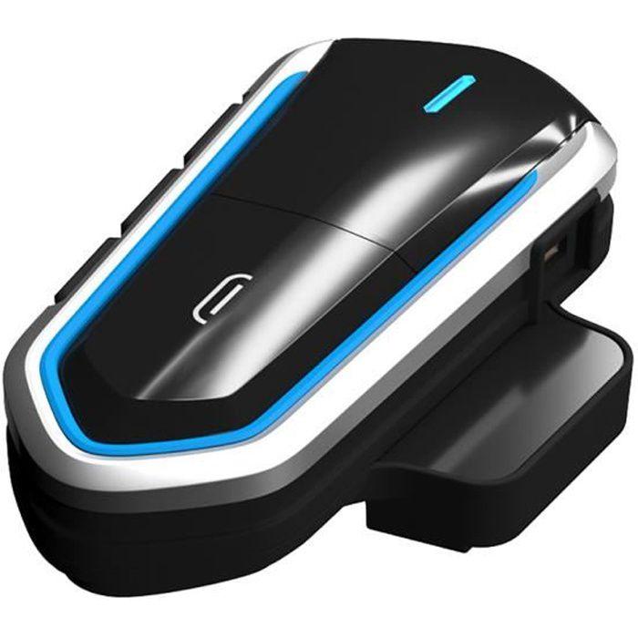 Intercom Moto Bluetooth 4.1, Kit Oreillette Bluetooth Casque Moto Interphone portable Main Libre - Bleu noir
