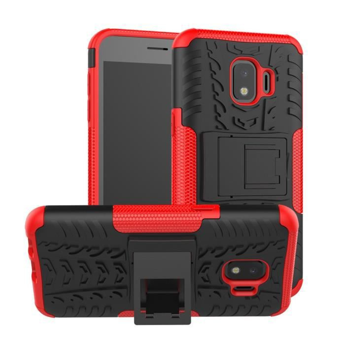 Antichoc Coque Samsung Galaxy J2 Core Coque Armure Béquille Cover avec Support Coque Rouge