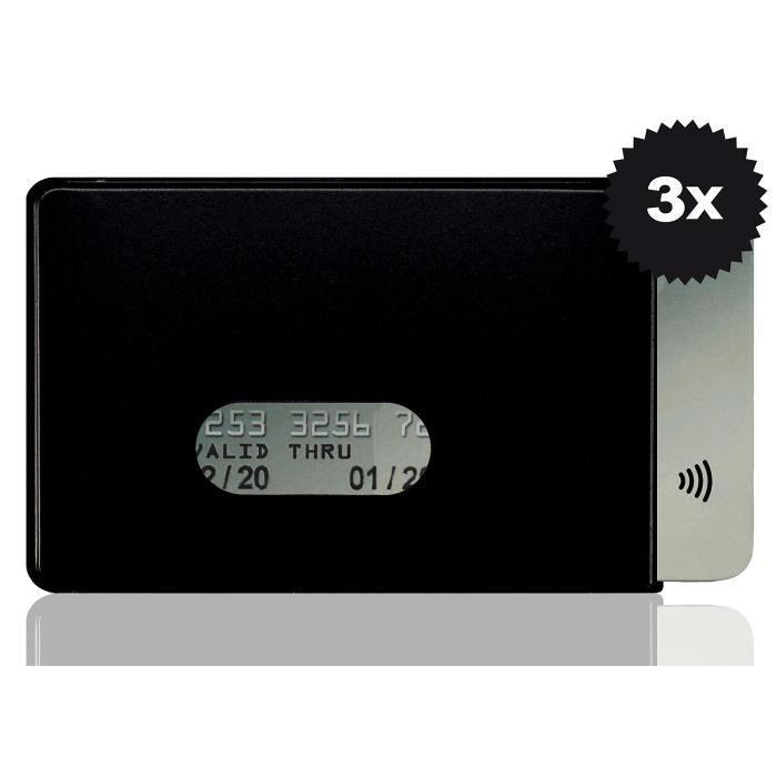 Lot de 3 protège-carte Optexx - Protection RFID - Rigides - En plastique - Bloque l'émission depuis la puce