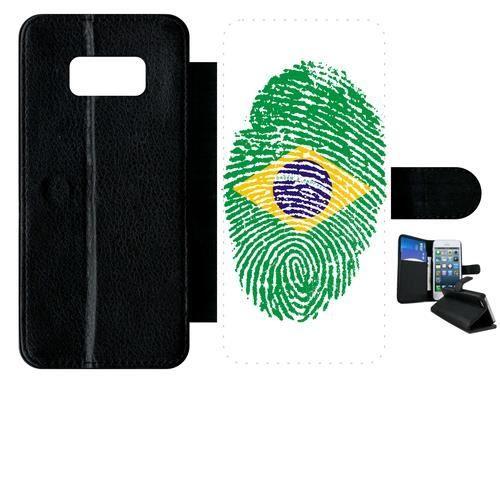 Etui a rabat - Plastique - Noir Samsung Galaxy S8 60 EMPREINTE DIGITALE DRAPEAU BRESIL BRAZIL