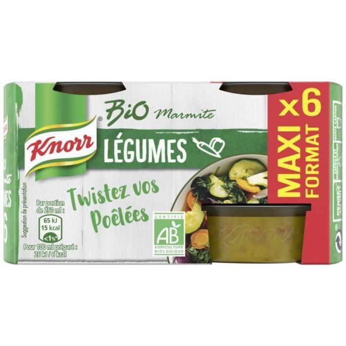 KNORR Bouillon marmite légumes Bio la boite de 6 cubes - 120g