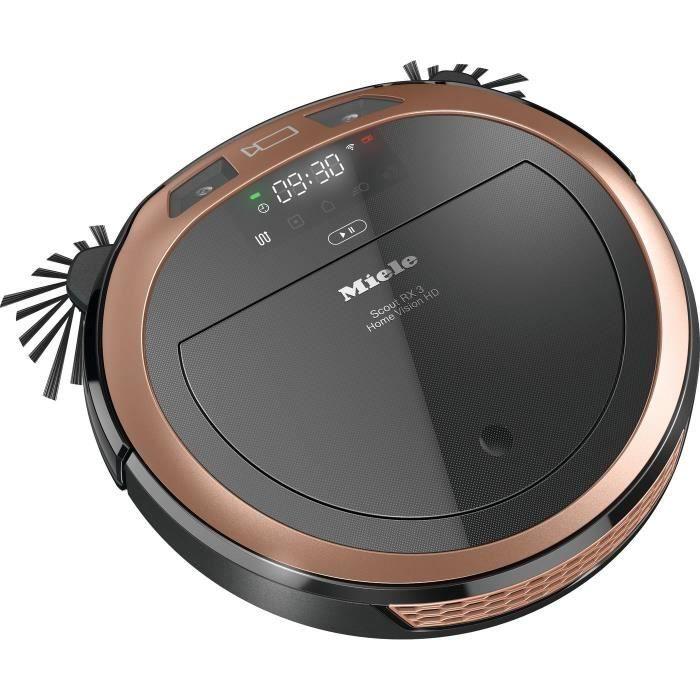 MIELE Scout RX3 Home Vision HD Aspirateur robot 3D Smart Navigation -3 actions-4 programmes-71dB-120min- AirClean+ - Noir/Rose gold