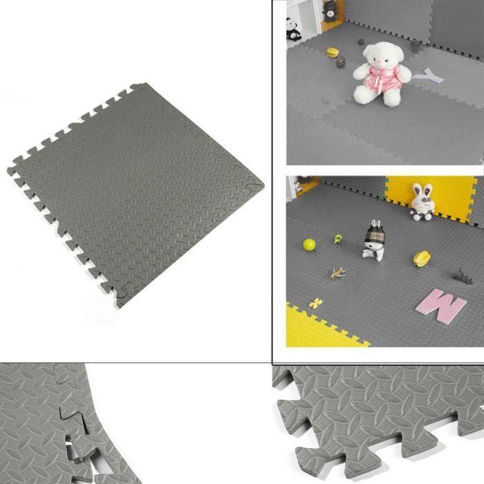 16pcs GRIS Mousse Tapis de sol confortable anti-choc pour yoga pour bébé