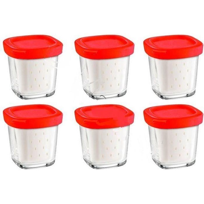 COFFRET DE 6 POTS AVEC ÉGOUTOIR DELICES BOX POUR YAOURTIERE SEB XF100501