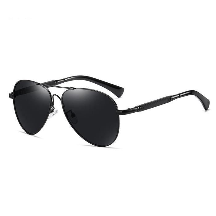 SHARPHY® Lunettes de soleil Homme polarisées ronde Armature en métal argent