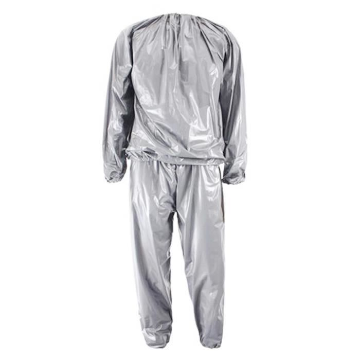 Heavy Duty Fitness Weight Loss Sweat Sauna Suit Exercice Gym Anti-Rip Argent L
