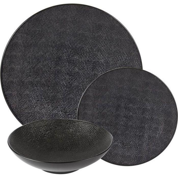 Service d'assiettes vésuvio noir 18 pièces - Table Passion Multicolore