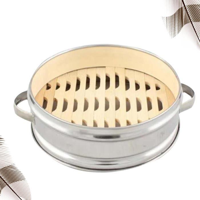 Panier à vapeur en acier inoxydable à deux poignées à à fond en bambou Boîte à portable pour cuisine AUTOCUISEUR - COCOTTE MINUTE