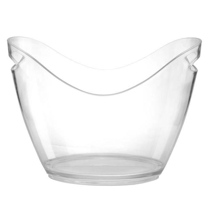 Seau à Glace Refroidisseur à Vin en Plastique PS Transparent pour KTV Bar Soirée 8L