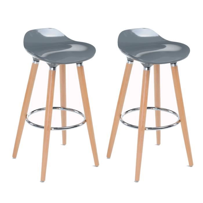 v l v lot de 2 chaises de bar scandinave style tabourets de bar gris achat vente tabouret de. Black Bedroom Furniture Sets. Home Design Ideas