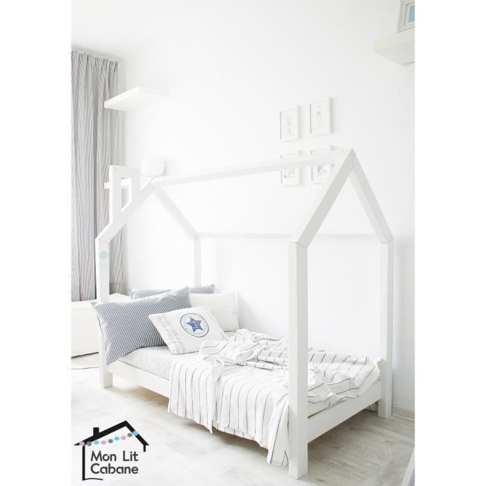lit cabane blanc bois massif sommier 80x190 achat. Black Bedroom Furniture Sets. Home Design Ideas