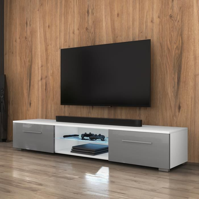 meuble tv meuble salon edith 140 cm blanc mat gris brillant avec led bleue style. Black Bedroom Furniture Sets. Home Design Ideas