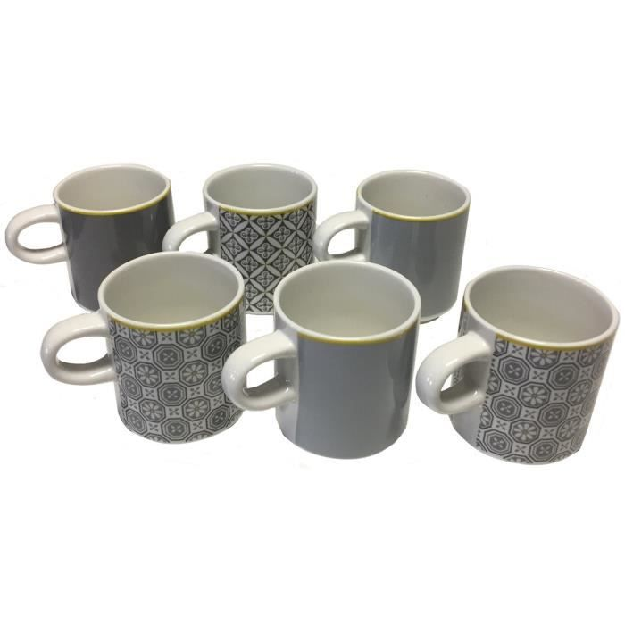 6 tasse cafe mosaique 6 5 x 5 5 cm motif carreau de platre cuisine vaisselle achat vente. Black Bedroom Furniture Sets. Home Design Ideas