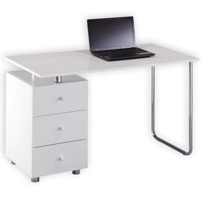 bureau moderne blanc nevio achat vente bureau bureau moderne blanc nevio cdiscount. Black Bedroom Furniture Sets. Home Design Ideas