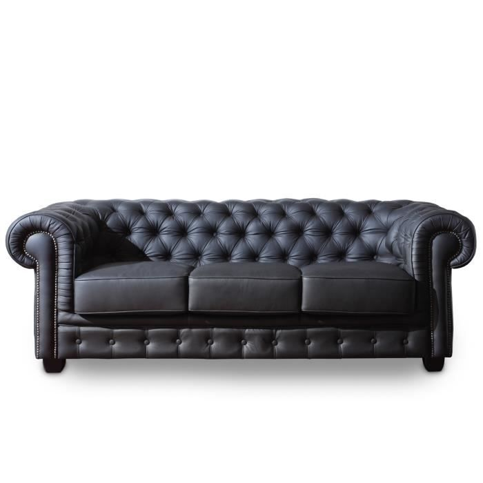canap chesterfield 3 places en cuir v ritable noir massivum achat vente canap sofa. Black Bedroom Furniture Sets. Home Design Ideas