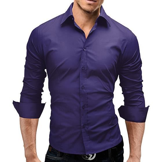 chemise slim fit homme violet achat vente chemise. Black Bedroom Furniture Sets. Home Design Ideas