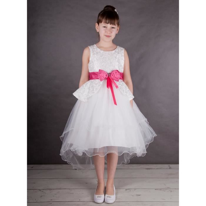 Robe De Ceremonie Fille Avec Traine Liam Rose Rose Fushia