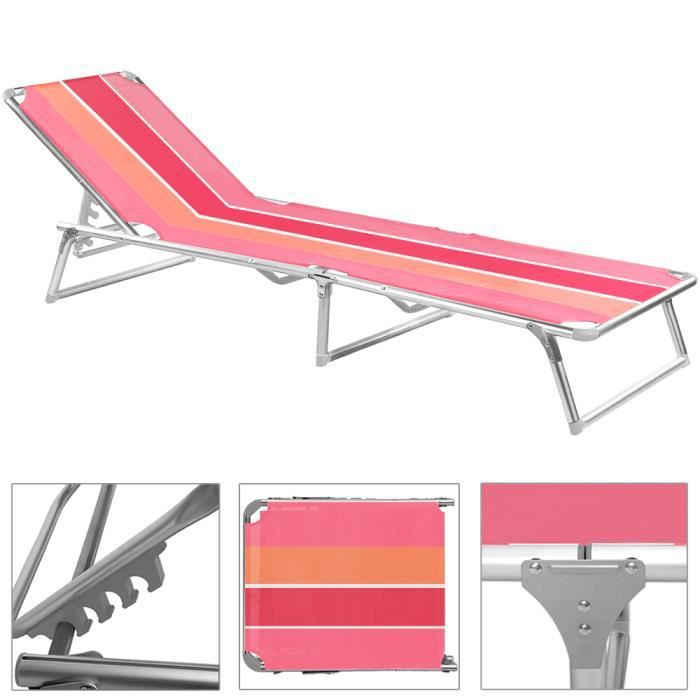 chaise longue pliable rose ray transat bain de soleil jardin plage bronzer achat vente. Black Bedroom Furniture Sets. Home Design Ideas