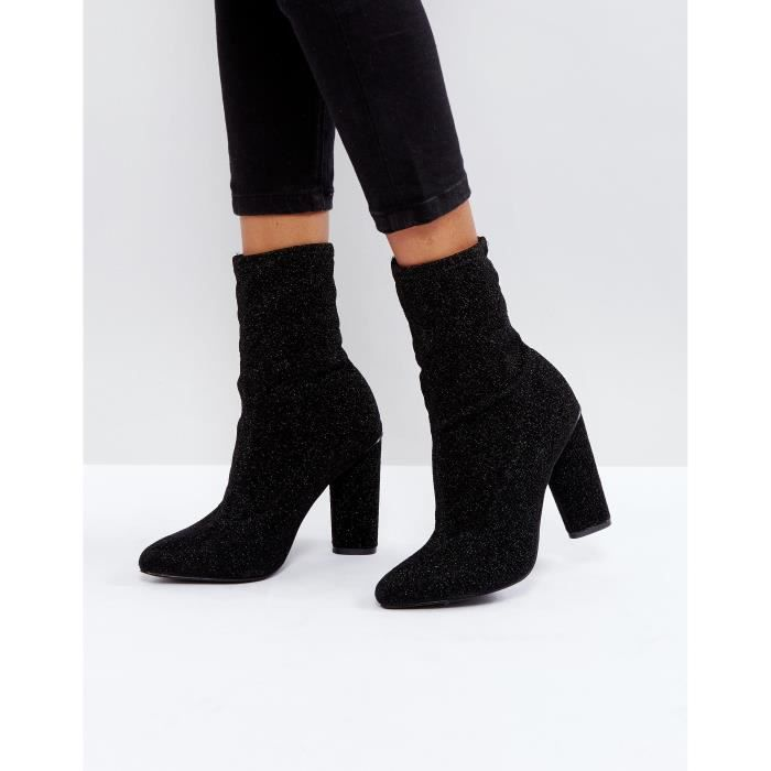 glamorous bottines chaussettes hautes talons noir loycb noir noir achat vente botte. Black Bedroom Furniture Sets. Home Design Ideas