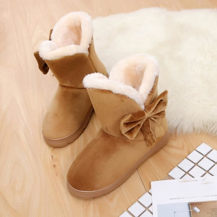 Bowknot Chaud Femmes Appartements Chaussures Neige Femmes Bottes Automne Hiver Chaussures Modehyu-801