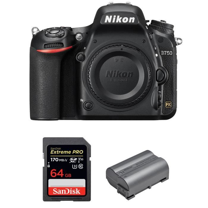PACK APPAREIL RÉFLEX Nikon D750 Nu + SanDisk 64GB Extreme PRO UHS-I SDX