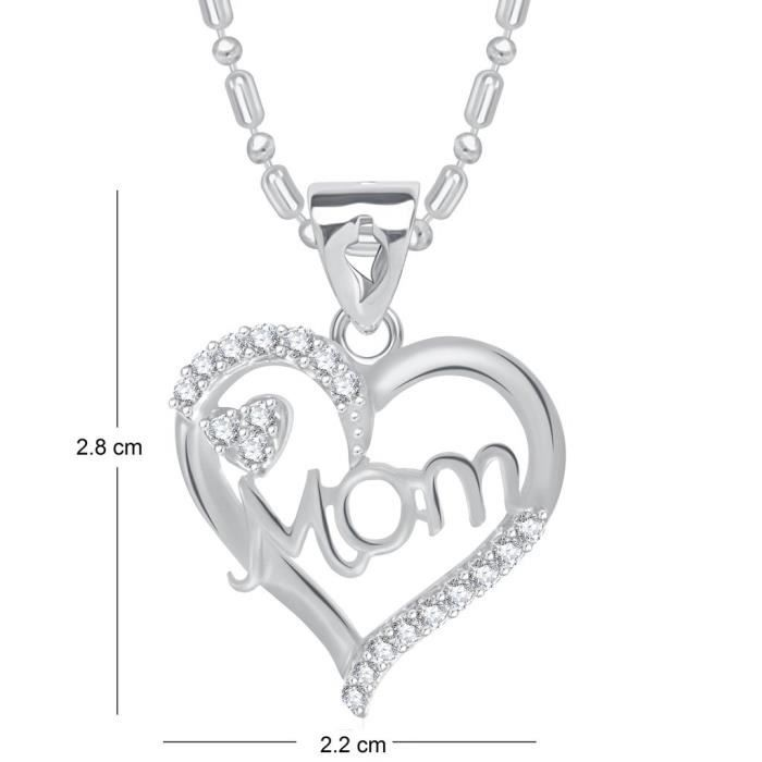 Womens Vk Jewels Stunning Rhodium Plated Alloy Cz American Diamond Mom Pendant With Chain For - P1 Q99LQ