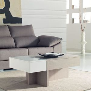 Table basse bois blanc et chene achat vente table for Table basse chene clair pas cher