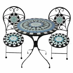 table fer forge mosaique achat vente table fer forge mosaique pas cher soldes cdiscount. Black Bedroom Furniture Sets. Home Design Ideas
